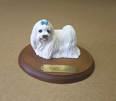 Maltese Figurine Hand Painted Dog Statue On A Wooden Plaque.