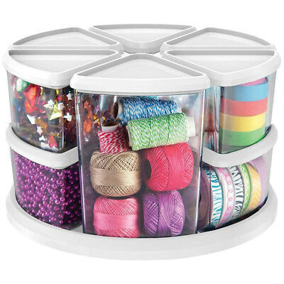 DIY Arts Crafts Sewing Hobby Box Storage Rotating Carousel Organiser Tidy Caddy