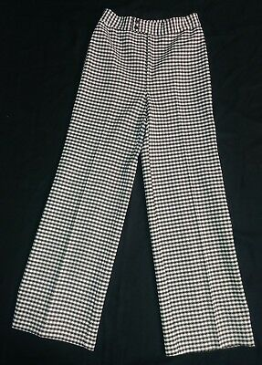 Vtg Women's Double Knit Jack Winter Pants Pull On Brown White Plaid Sz 10