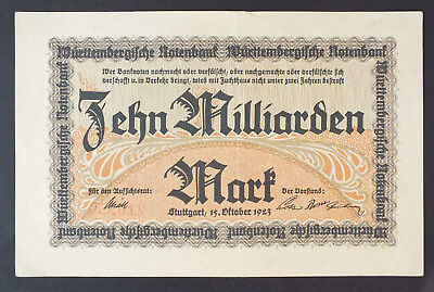 Württemberg 1923 - Notenbank - 10 Milliarden Mark Ro. 21a