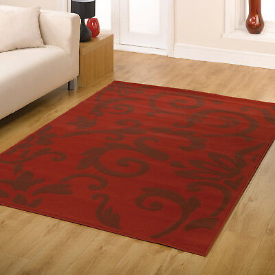 Modern Floral Scroll Carved Clearance Retro Flair Rug In Red Runner Small Large