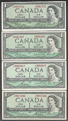 1954 $1.00 ALL 4 Signatures QEII Modified Bank of Canada NICE OLD One Dollar Set