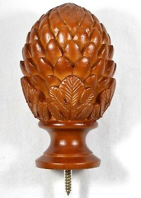 "Walnut Wood Pine Conifer Cone Finial for Stair & Rail Posts 1-3/8"" in Diameter"