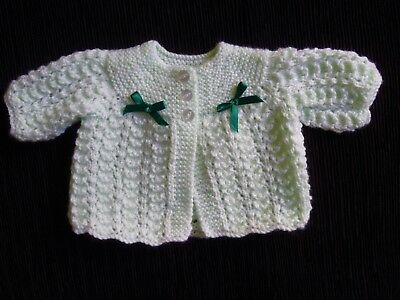 Baby clothes GIRL premature/tiny<7.5lbs/3.4kg soft, mint cardigan knit SEE SHOP!