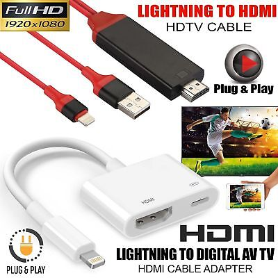 Full Hd Audio Video Adapter Cable For Iphone X 8 7 Ipad Ipod To Tv Hdtv Display 1080p 60hz Av Converter For Lightning To Hdmi Spare No Cost At Any Cost Home