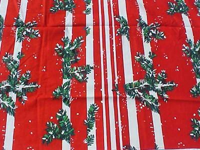 Vintage Christmas Tablecloth  Very Bright Colors. Bold Stripes