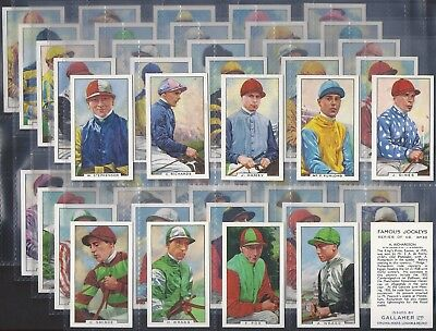 Gallaher-Full Set- Famous Jockeys (Blue Back 48 Cards) Horse Racing - Exc