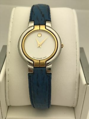 7ac49b5be Movado Ladies Swiss Made White Museum Dial Blue Leather Band Watch 0602964