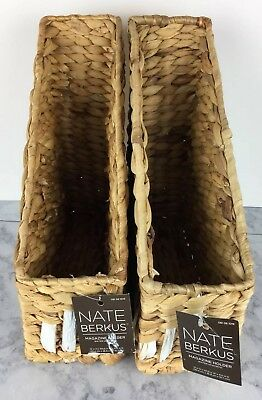 Nate Berkus for Target Set (2) Magazine Folder Holder Natural Color Wicker Style