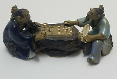 Vintage Japanese Hashioki Chopstick Rest TWO WISE MEN PLAYING A GAME OF GO Rare