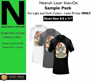 *Sample Pack* Neenah Laser Iron On Heat Transfer Paper for Light and Dark 8.5x11