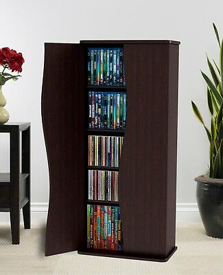 Media Cabinet Organizer DVD CD Storage With Doors Game Tall Large Tower  Espresso