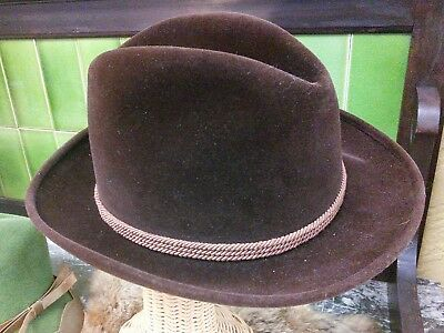 7ec37902539 Vintage Barbisio Homburg Fedora Fur Felt Italy Dark Brown Hat Size 6 1 2-
