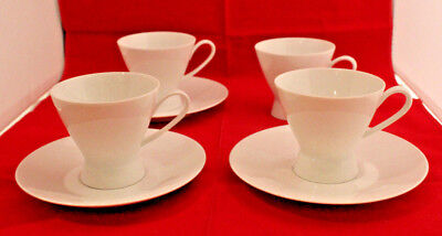 Rosenthal Continental Classic Modern White 4 Coffee Tea Cups 3 Saucer Set (A)