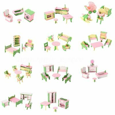 49Pcs 11 Sets Baby Wooden Furniture Dolls House Miniature Child Play Toys G K7T8