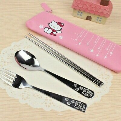 Hello Kitty Utensils Set Include Fork, Spoon, Chopstick And Case, Ship From Usa!