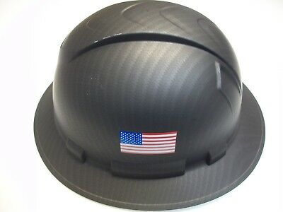 Pyramex Black Matte Graphite Full Brim Hard Hat W/ American Flag Hp54117-Baf