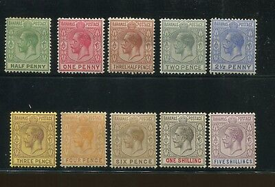 1921 Bahamas Postage Stamps #70-84 Mint Hinged VF Original Gum Incomplete Set