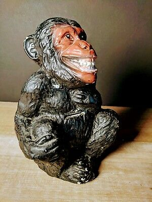"Vintage Estate Ceramic Monkey Bank 10"" Tall Unique A.N. Brooks Corp."
