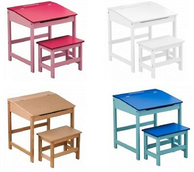 Children's Desk And Stool Natural White Pink Blue MDF Wood With Hinged Lid New