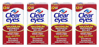 Clear Eyes Maximum Redness Relief Eye Drops, 0.5 Oz (4 Pack)