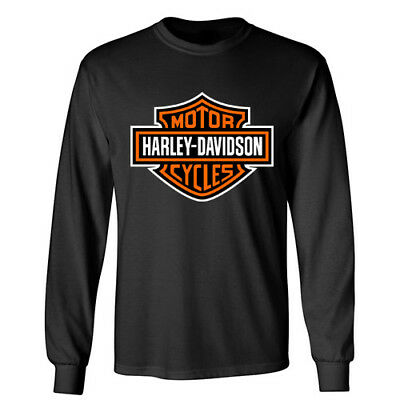 HARLEY DAVIDSON Motorcycle Sports Wheels Racing Rider Biker Long Sleeve