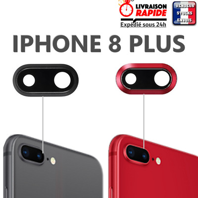 Vitre arrière camera IPHONE 8 PLUS lentille rouge noir cache lens rear back red