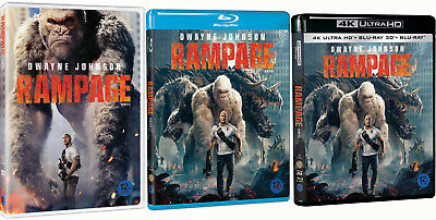 Rampage (2018) DVD, Blu-ray, 3D, 4K UHD / Choose one!