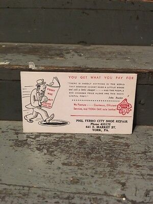 1930s York Pa Blotter Trade Card Phil Ferro City Shoe Repair York Pa