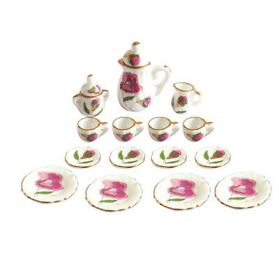 15Pcs 1/12 Dollhouse Miniature Peony Dining Ware Porcelain Tea Cup Set J6L5