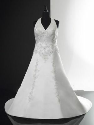Plus Size 2018 New Halter White Ball Gowns Wedding Dresses Formal Bridal Gowns