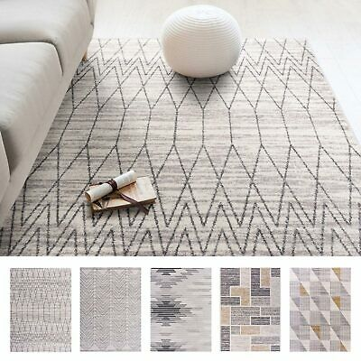 Large Natural Beige Floor Rugs Didmond Stripes Plush Lounges Carpet Mat
