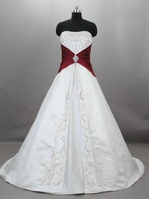White&Red Ball Gowns Wedding Dresses 2018 Formal Bridal Gowns Plus Size 4-28++