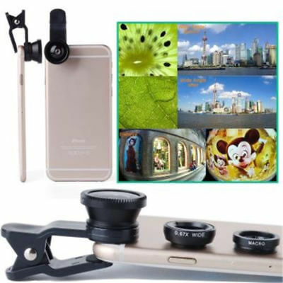 Hot Sale 3in1 Fish Eye+Macro+Wide Angle Clip On Camera Lens Kit For Smart Phone