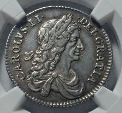 1663 Great Britain Silver Shilling Coin NGC XF-45 KEY DATE