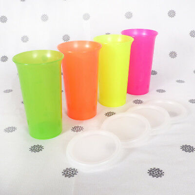 NEW Tupperware 4 x Bell Tumblers Large Size Neon Fluro Colours