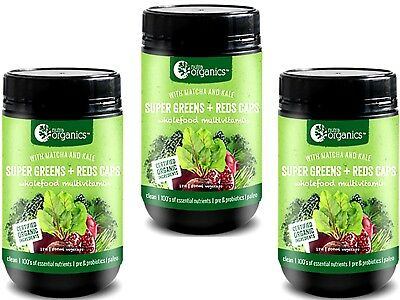 3 x 180 Capsules Nutra Organics SUPER GREENS & REDS Phyto Nutrients SUPER FOOD