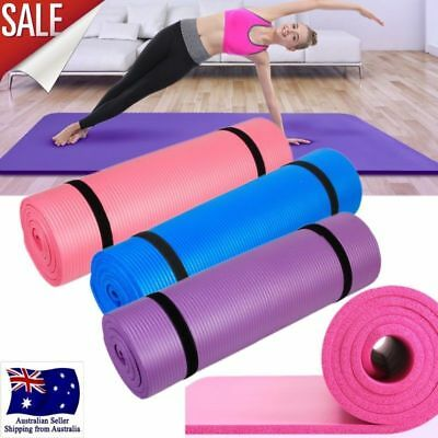 10mm Thick NBR Yoga Mat Pilate NonSlip Durable Exercise Fitness Gym Camping Pad