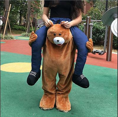 Carry Me Teddy Bear Mascot Costume Ride On Piggy Back Pants Adults Fancy Dress