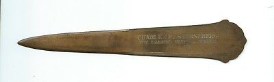 Vintage Advertising Brass Or Bronze Letter Opener - Charles Sterneberg - Pa.