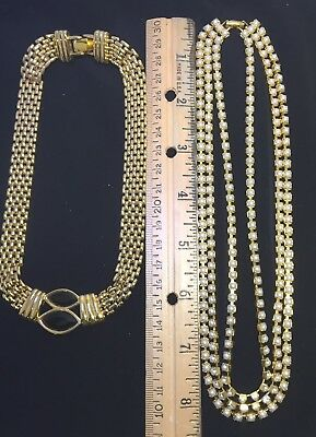 VINTAGE JEWELRY LOT OF 2 NECKLACES, both gold, 1 with pearls other black enamel