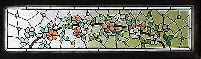 Antique American Stained and Jeweled Floral Transom