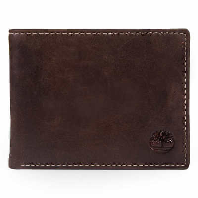 2a653b801767 Timberland Men s Saddle Leather Wallet Black Brown Gift box 2 windows