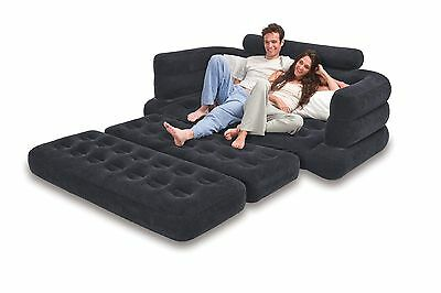 Inflatable Pull Out Sofa Bed Mattress Couch Chair Blow Up Seat Camping  Airbed