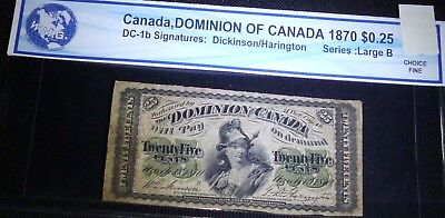 1870 Dominion of Canada 25 Cents . FRACTIONAL CURRENCY , Shin plaster