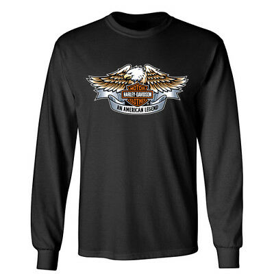 HARLEY DAVIDSON Sports Biker Rider Racing Motorcycle Wheels Long Sleeve T-Shirt