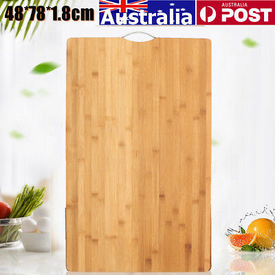 48x78cm Bamboo Wooden Kitchen Chopping Cutting Board Hard Carbonised with Hook
