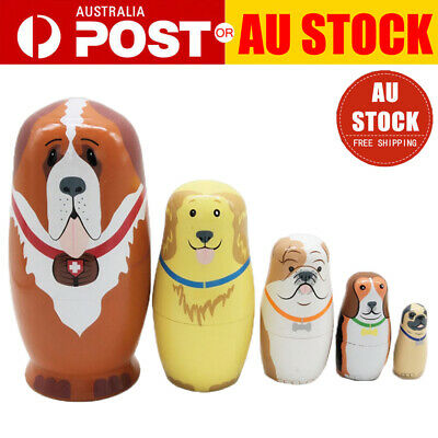 5Pcs Cute Nesting Dolls Adorable Puppy Dog Russian Stacking Dolls Collection Toy