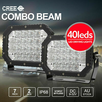 Pair 7 inch CREE LED SPOT Driving Lights 5D Lens Square Work Spotlights 95800W