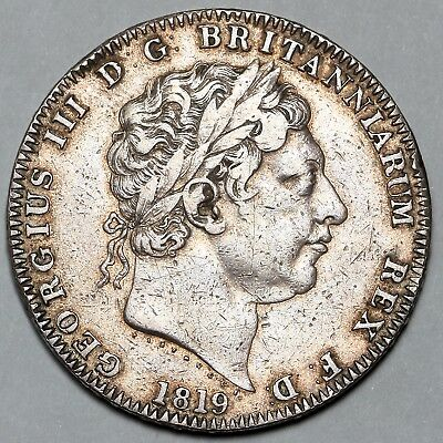 1819 King George Iii Great Britain Silver Crown Coin